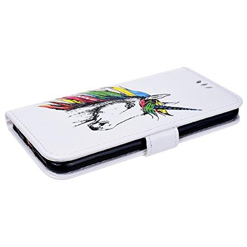 Vemmore Cover per iPhone 6 Plus / iPhone 6S Plus Case in Pelle di Flip Portafoglio PU Custodia con Unicorno Pattern Flessibile Morbido TPU Interno Caso con Sottile Stent Fibbia Magnetica Protettiva Pa Bianco