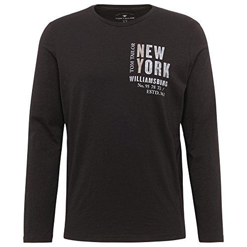 TOM TAILOR Herren Langarmshirt Print Package T-Shirt Black