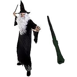 I LOVE FANCY DRESS LTD Zauberer VERKLEIDUNG KOSTÜM MAGISCH = ALLE Set BEINHALTETEN PERÜCKE + BART = Unisex =Fasching+Karneval = VERSCHIEDENEN AUSFÜHRUNGEN =XXXLarge-SCHWARZER HEXEN Hut+STAB