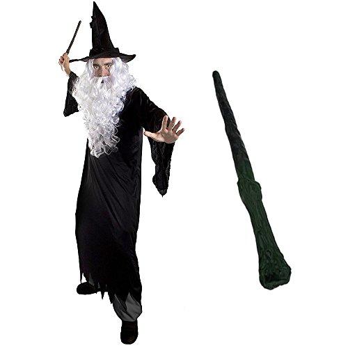 ILOVEFANCYDRESS Zauberer Verkleidung KOSTÜM MAGISCH = Alle Set BEINHALTETEN PERÜCKE + Bart = Unisex =Fasching+Karneval = Verschiedenen AUSFÜHRUNGEN =Large-Schwarzer Hexen Hut+Stab