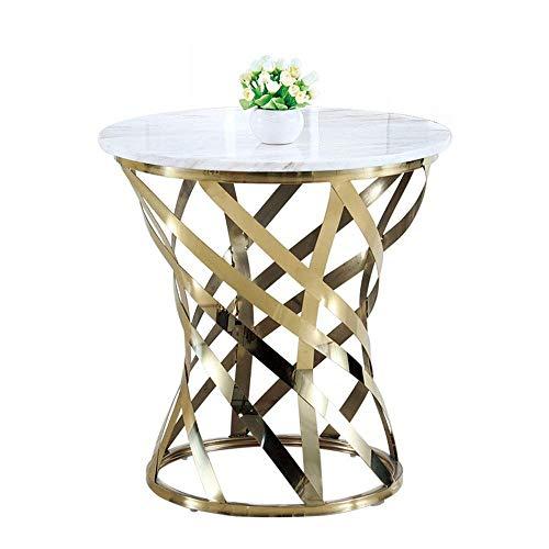 LXDDB Metall Runder Tisch, Runder Couchtisch Wohnzimmer Marmor Edelstahl Beistelltisch Telefontisch Schlafzimmer Nachttisch 60x60CM FF (Tabellen Akzent Wohnzimmer Modern)