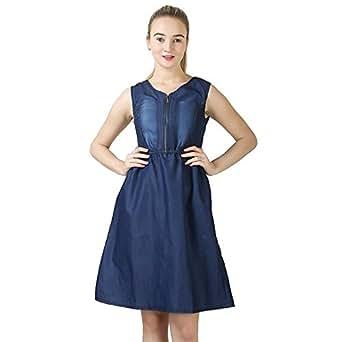 oneOeightdesigns Women's Midi Length Sleeveless V Neck Denim Dark Blue Dress Small