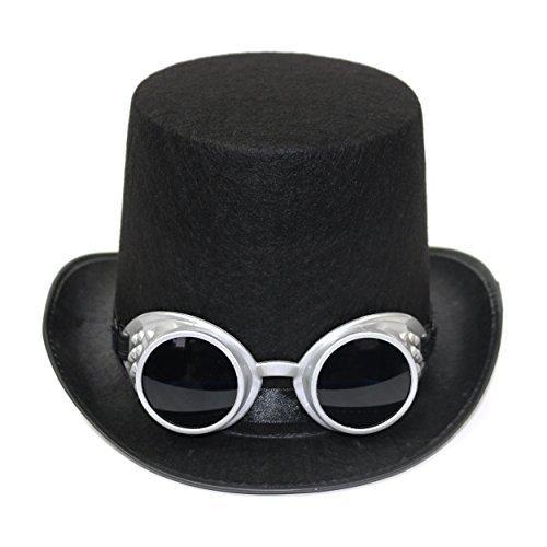 Erwachsene Viktorianisch Industriell Steampunk Zylinder & Schutzbrille - Silbern, One (Männer Steampunk Hüte)