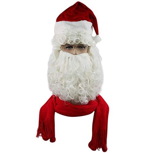 Tonsee Damen und Herren Weihnachten Cosplay Perücke Weihnachtsmann Kostüm Set Cosplay Kostüm Weihnachtsmann Curly Perücke und Bart Cosplay Kostüm Perücke Silber Weiß Weihnachten (Glatze Und Bart Kostüm)