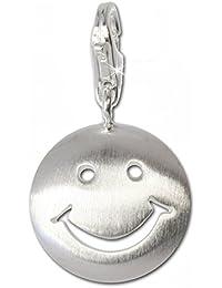 Plata de ley 925 SilberDream Charm Smiley Plata colgante para pulsera cadena pendientes FC3111
