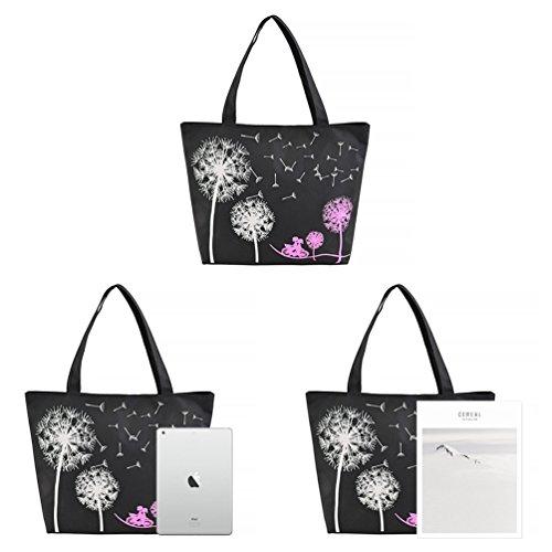 Vbiger Segeltuch Schultertasche Modisch Einkaufstasche Beiläufig Segeltuch Handtasche für Frauen Schwarz2