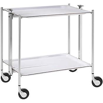 Chromé Table Roulante 2 Étages Textable 500250001 Blanc Platex rhQdts