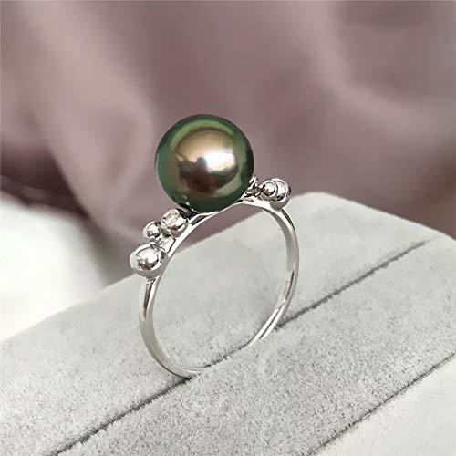 GFLD Ringe Meerwasser Perlenring Genuine 18k Platin Intarsien Diamant Tahiti Black Pearl einfach frische-Ring