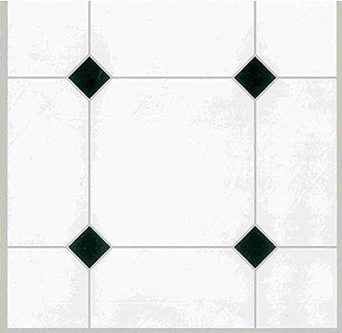 Carreau de carrelage sol adhésif en vinyle style carreaux blancs pour cuisine et salle de bain (lot de 44)