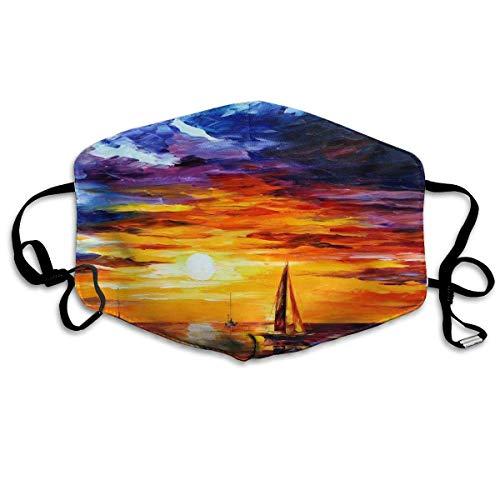 Masken, Masken für Erwachsene, Face Mask Reusable, Warm Windproof Mouth Mask, Sea Sunset Sailboat Reusable Anti Dust Face Mouth Cover Mask Protective Breath Healthy Safety (Bush-maske)