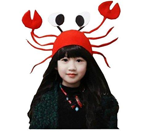 Qsoleil Lustige Partyhüte Neuheit Kostüm Mützen für schlafen verrückte Party Kopfbedeckung rot Krabbenhut
