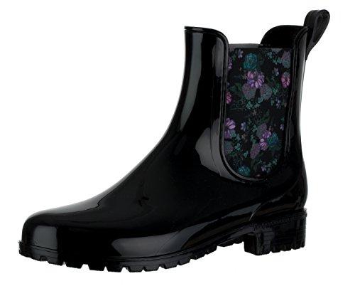 Brandsseller Damen Kurzschaft Gummi Stiefelette Flower Chelsea Boots Gummistiefel Blockabsatz Profilsohle Made in Italy Farbe: Schwarz - Größe: 39
