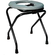 SQUATTY Unisex Stainless Steel Folding Elderly Disabled Shower and Bathing Room Mobile Commode Chair with Anti-Skid Toilet Seat
