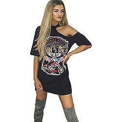 VJGOALas Mujeres Atractivas de la Vendimia cuelgan el Cuello de la Personalidad del Hombro Rock Club Nocturno Estilo de impresión de la Camiseta Larga Mini Vestido (S, Negro)