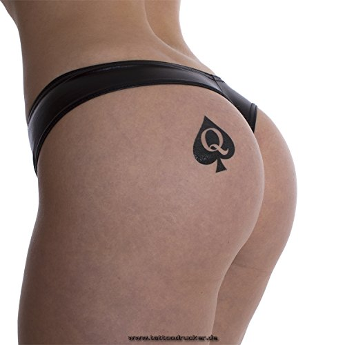 25 x Queen of Spades Tattoo in black - Hotwife Tattoo