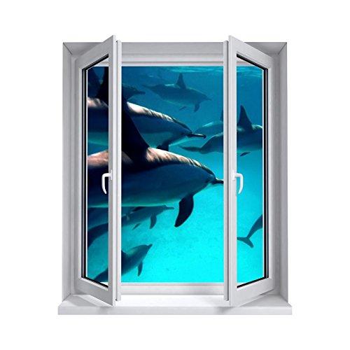 Tatoutex adesivi trompe l' oeil finestra i delfini, l 100cm x h 120cm
