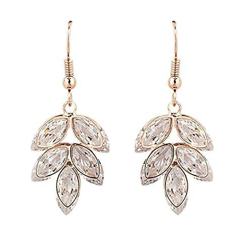Epinki Women's Earrings, Gold Plated Leaves Elegant Rose Gold Cubic