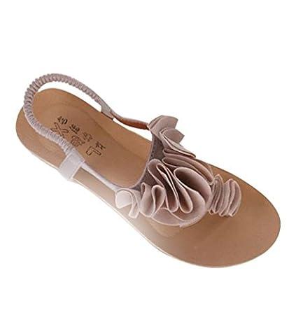 YOUJIA Damen Bohemia Süß Blume Zehentrenner Thongs Sommer T-Spangen Sandalen Strand Schuhe (Beige, EU
