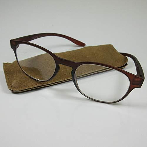 Schicke Lesebrille +3,5 braun mit langen Bügeln Fertigbrille für SIE & IHN Etui