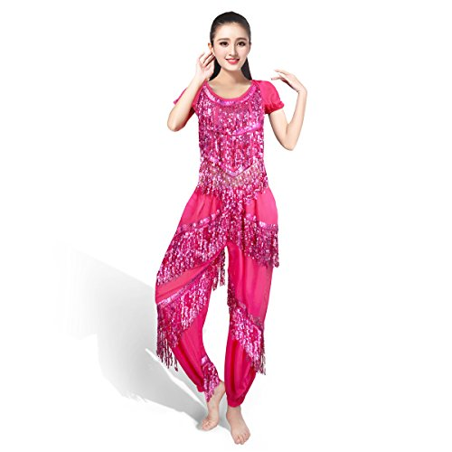 SymbolLife Belly professionnelle costume de danse, Halter Bra Top + Pantalons Rose
