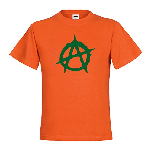 dress-puntos Kids Kinder T-Shirt Anarchie Symbol 20drp15t-kt00040-328 Textil orange / Motiv gruen Gr. 122/128 (T-shirt Print Anarchie)
