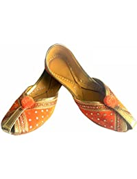 Step n Style Mujer Piel Khussa Flat Zapatos, color multicolor, talla 40.5