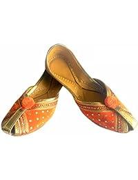 Step n Style Punjabi Jutti indiano scarpe piatto flop flop Khussa scarpe Jaipuri sandali, Nero (Black), 39 1/3