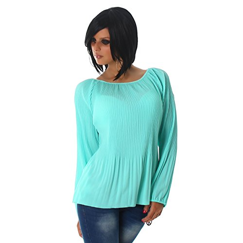 Voyelles Damen Shirt Bluse Tunika Rundhals Babydoll Ripp-Optik Langarm 34,36,38. Mint