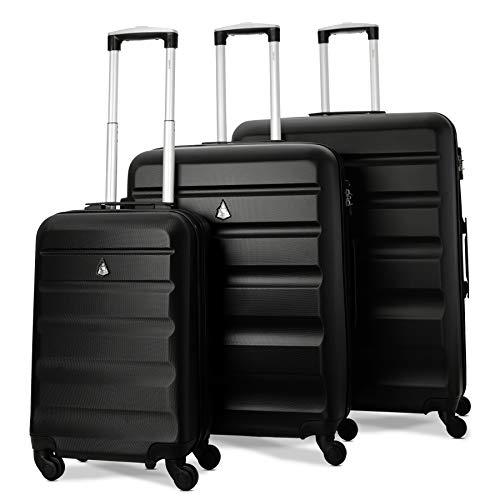 Aerolite carrello da viaggio per bagagli con ruota rigida abs con 4 ruote gommate con combinazione serratura con combinazione tsa (set da 3 pezzi, 21