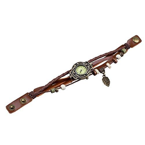 TOOGOO (R) Reloj de Pulsera Cuarzo Banda de Cuero Estilo Antiguo para
