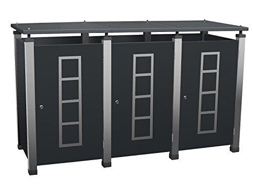 Mülltonnenverkleidung Metall, Modell Pacco E Quad20 für drei 240 ltr. Tonnen