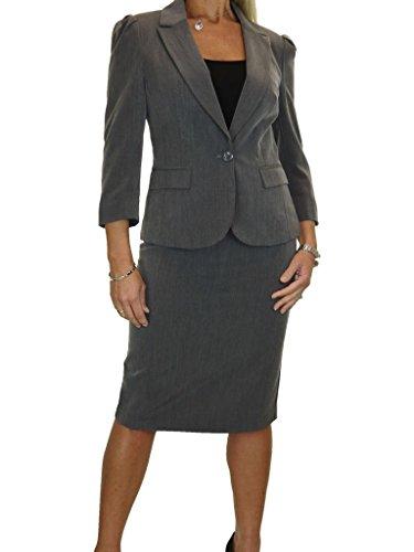 28c6370d6c14 ICE Damen Anzug mit Rock - für Büro oder Geschäft - 3 4 Hülse Grauer Marl  (34)