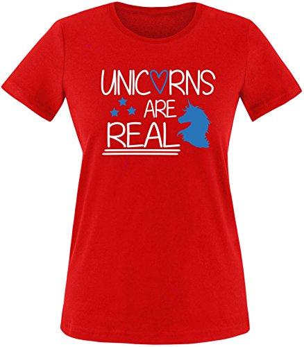 EZYshirt® Unicorns are real Damen Rundhals T-Shirt Rot/Weiss/Blau