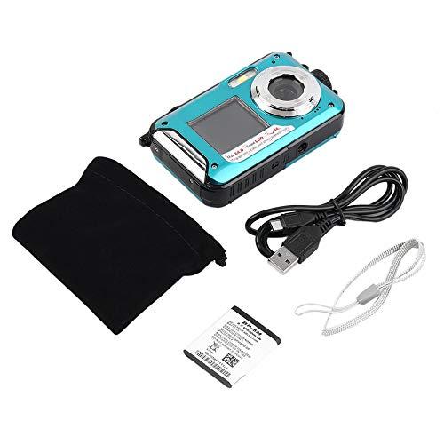 HibiscusElla 2,7-Zoll-TFT-Digitalkamera Wasserdicht 24MP MAX 1080P Doppel-Bildschirm 16x Digital-Zoom-Camcorder HD268