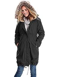 e60c4c17ddf4 KOERIM Womens Winter Fur Mama Giacca con Cappuccio Giacca Premaman per  Marsupio Outwear