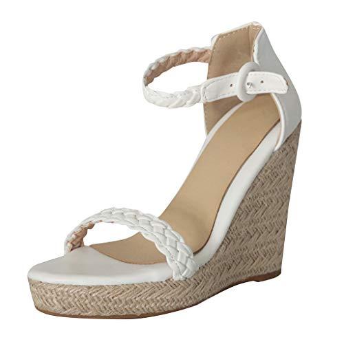 Damen Sandalen, Sumeiwilly Sommer Retro Fashion Damen Open Toe Ankle Wedge Flats Schuh Schnalle Wedges Thick Bottom SchnüR-Strandschuhe FüR Frauen Roman Sandals Freizeitschuhe -