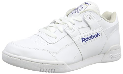 Reebok Men's Workout Plus Low-Top Sneakers, White (White/Royal), 8.5 UK