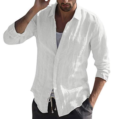 ✮R-Cors✮ Hemd Herren Leinenhemd Herren Freizeithemd Henley 3/4 Ärmellänge Regular Fit Kragenloses Shirt Retro T-Shirts Tops Bluse Mit Tasche (Henley T-shirt Weiße Erwachsene)