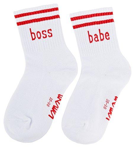 likalla boss babe Socken in weiß mit rotem Print, Größe:35-38