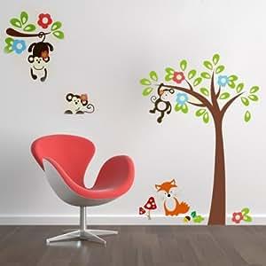 Wall sticker adesivo da parete scimmia albero decorazione casa casa e cucina - Albero su parete ...