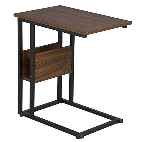 WOLTU Beistelltisch TS79dc Kaffeetisch Couchtisch Sofatisch Nachttisch Betttisch Laptoptisch, Gestell aus Metall, Tischpltte aus MDF, 55x36x59,5cm(BxTxH), Dunkelbuche