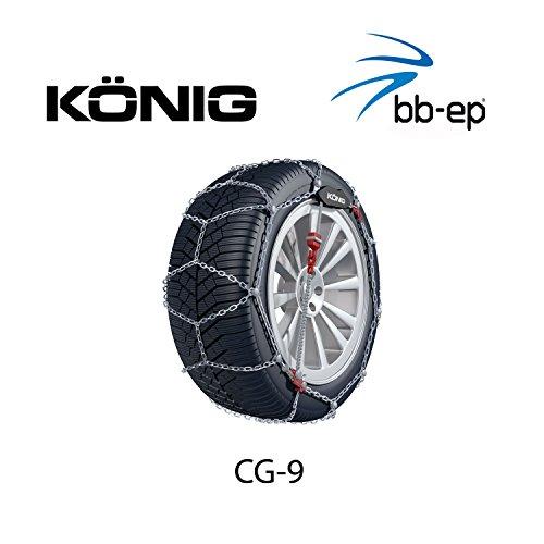 Feingliedrige Schneekette König 9mm (9719090709) für BMW Serie 3 (E90-E92-E93) mit der Reifengröße 205/55 R16 im Set mit hochwertigen...