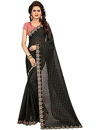Shailaja Sarees Women's Chanderi Cotton Chex Designer Wedding Wear Saree With Blouse Piece