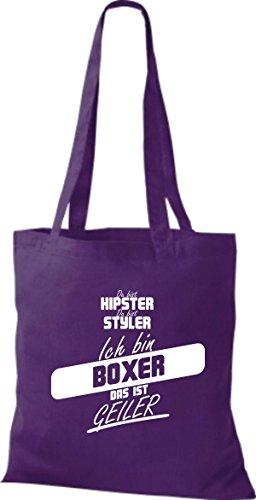 Shirtstown Stoffbeutel du bist hipster du bist styler ich bin Boxer das ist geiler lila
