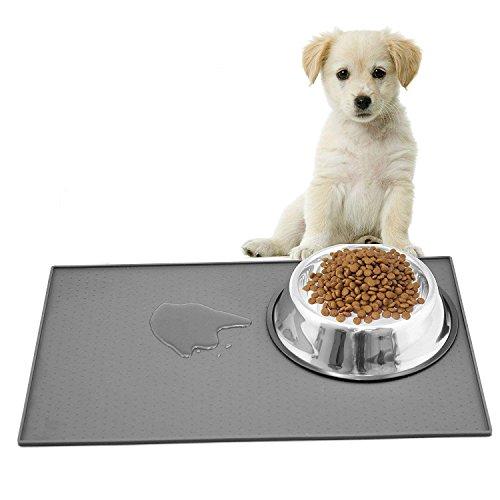 Ewolee Silikon Futtermatten, Haustier Napfunterlage, Katzen-fressnäpfe Futtermatte für Haustier, Silikon wasserdicht Anti-Rutsch FDA Tiernahrung-Matte Katzen-zubehör Fuss-matte (48 x 30 cm), Grau