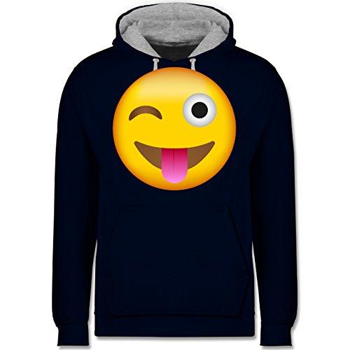 Comic Shirts - Emoji herausgestreckte Zunge - Kontrast Hoodie Dunkelblau/Grau meliert