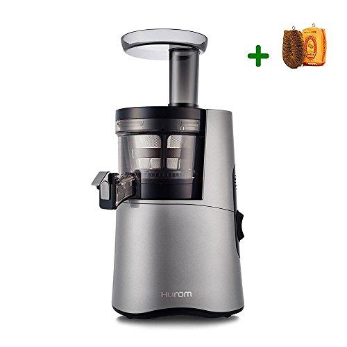 Extractor de zumos Hurom H-AA Alpha (Tercera generación) + Filtros de Smoothies y Sorbetes e Cepillo para verduras (Plata)
