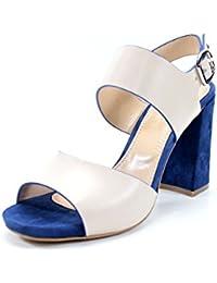 Giorgio Rea Sandalias para mujeres hechos a mano en Italia con encanto cómodo talón de 10 cm. cuero genuino zapatos del partido evento ceremonia hecha a mano de alta costura