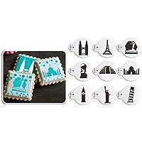 AK arte cocina 9 pcs/Set de la torre Eiffel Cookie plantillas para glaseado plástico Cupcake plantilla plantillas diseño de Petronas Twin Towers de ...