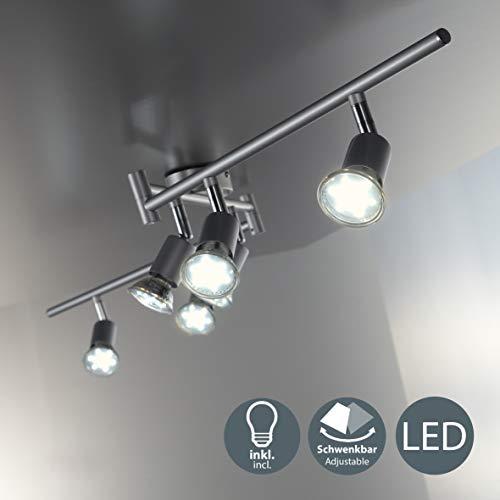 B.K.Licht - Lámpara de techo con 6 focos LED GU10, focos ajustables...